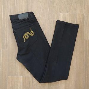 Lauren Ralph Lauren Black Gold Snake Jeans Sz 6